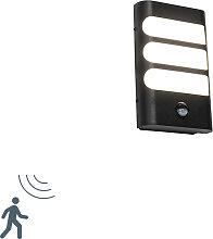 Applique d'extérieur noire avec LED avec