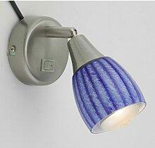 Applique design lampe en verre rayé bleu et blanc