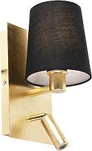 Applique design or avec abat-jour noir et LED -