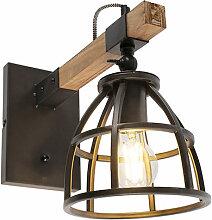 Applique industrielle noire avec bois réglable -
