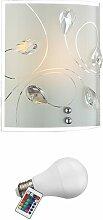Applique LED RVB 7W luminaire mural lampe verre