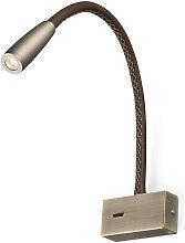 Applique liseuse flexible cuir et bronze