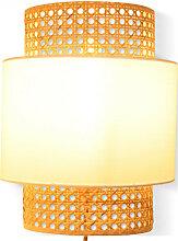 Applique luminaire en cannage avec abat-jour tissu