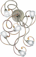 Applique Medusa argenté reflets bordeaux 6 lampes