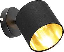 Applique moderne abat-jour noir et or - Tomas