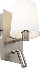 Applique moderne acier abat-jour blanc LED incl. -