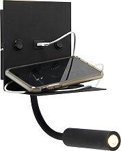 Applique moderne USB noire avec bras flexible sans
