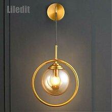 Applique murale en boule de verre dorée au design