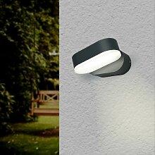 Applique Murale Noire LED 6W IP54 Orientable Ovale
