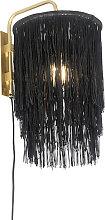 Applique orientale abat-jour noir doré à franges