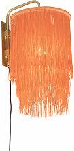 Applique orientale abat-jour rose doré à franges
