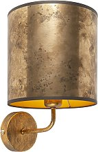 Applique vintage doré avec abat-jour en velours