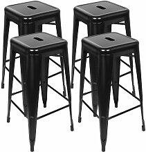 AQRAU - Chaise haute de bar empilable 4 pièces