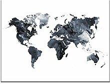 Aquarelle carte du monde affiche HD impression