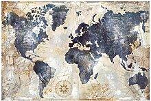 Aquarelle Vintage carte du monde toile peinture