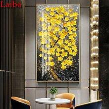 Arbre coloré doré abstrait 3D, peinture diamant,