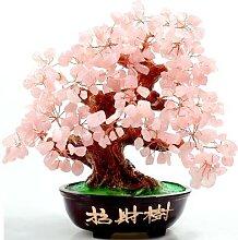 Arbre de bonsaï en cristal rose, style