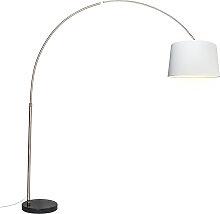 Arc lampe abat-jour tissu acier blanc 45 cm - XXL