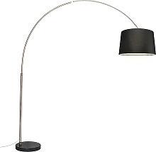 Arc lampe abat-jour tissu acier noir 45 cm - XXL