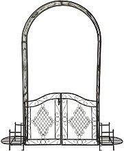 Arche à rosier en fer marron 230x199