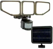 AREV Projecteur LED solaire 3 têtes noir 15W 1000