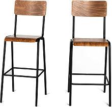 Arlet - 2 chaises de bar métal et bois 77cm
