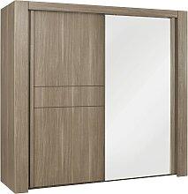 Armoire avec miroir et penderie L250cm - Marron