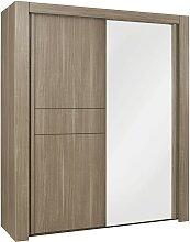 Armoire avec porte miroir et penderie L200cm -