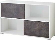 Armoire basse de bureau moderne blanc/basalte mezzo