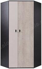 Armoire d'angle enfant en bois blanc, gris et