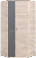 Armoire d'angle enfant en bois chêne et gris,
