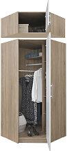 Armoire-dressing angle blanc et chêne, 1 porte,