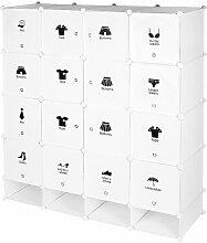 Armoire étagère modulable en plastique blanc