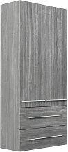 Armoire haute XL décor chêne argenté