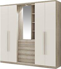 Armoire ISAK - 4 portes - Miroir et tiroirs -