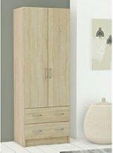 Armoire lingère 2 portes 2 tiroirs - lavi - l 61