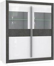 Armoire vitrine 2 portes bois blanc et gris,