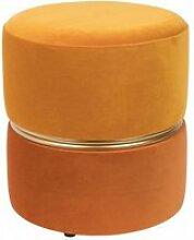 Art deco - tabouret pouf velours orange