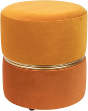 ART DECO - Tabouret pouf velours orange
