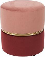 ART DECO - Tabouret pouf velours rose