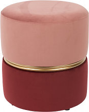 ART DECO - Tabouret pouf velours rose