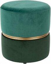Art deco - tabouret pouf velours vert