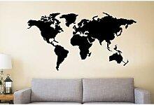 Art mural en métal carte du monde continent,