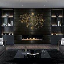 Art mural en métal, carte du monde en métal, art