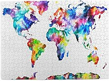 Art Photo Puzzle En Bois Carte Du Monde Aquarelle