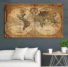 ART une carte du monde rétro vieilles photos