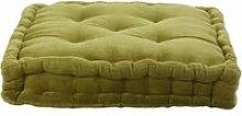 Arthur - pouf tapissier en velours de coton uni