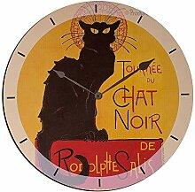 Artopweb TW35028 Chat Noir Horloge Murale, Bois,