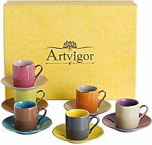 Artvigor 6 Sets 80ml Tasse à Café Expresso avec