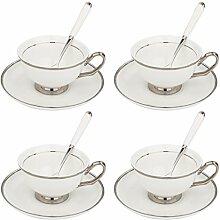 Artvigor, Set de 4 Tasse à Café en Porcelaine,